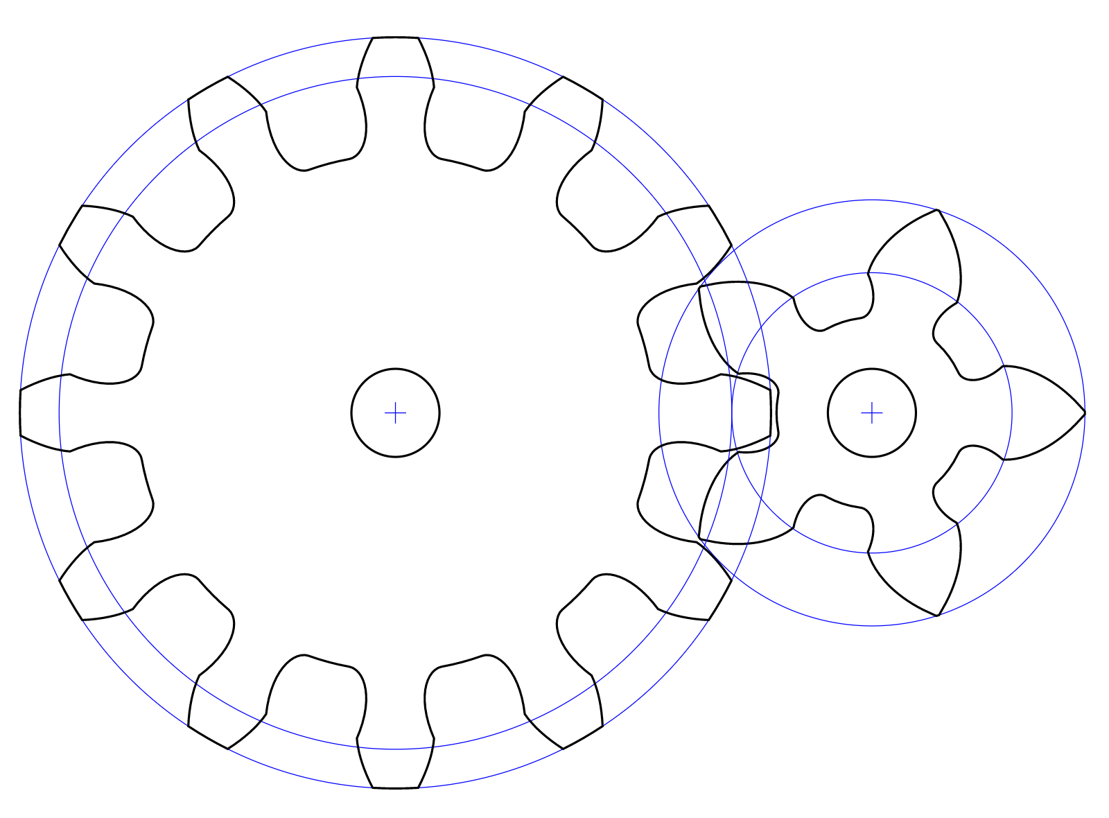 Involute gears with undercut and profile shift.
